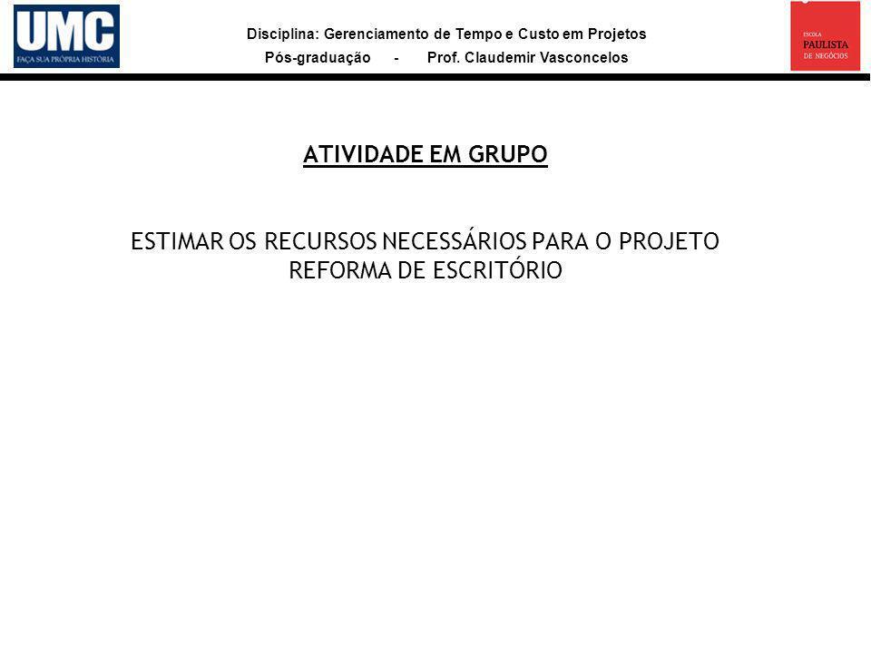ATIVIDADE EM GRUPO ESTIMAR OS RECURSOS NECESSÁRIOS PARA O PROJETO REFORMA DE ESCRITÓRIO