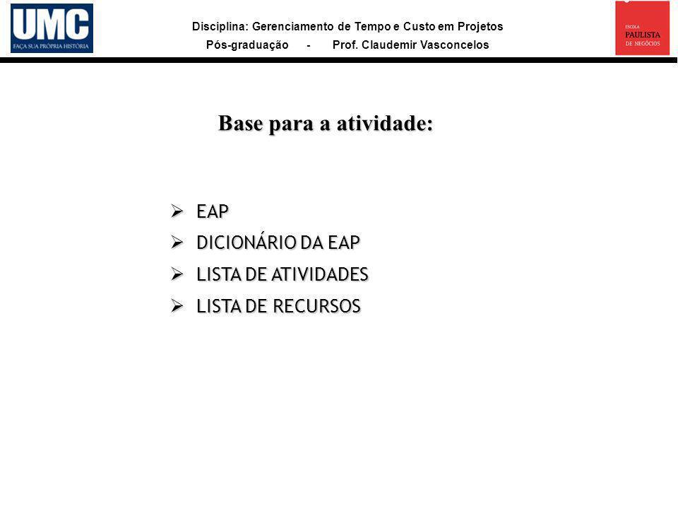 Base para a atividade: EAP DICIONÁRIO DA EAP LISTA DE ATIVIDADES
