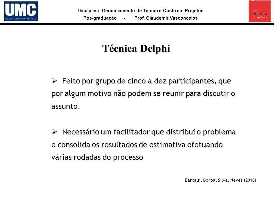 Técnica Delphi Feito por grupo de cinco a dez participantes, que por algum motivo não podem se reunir para discutir o assunto.