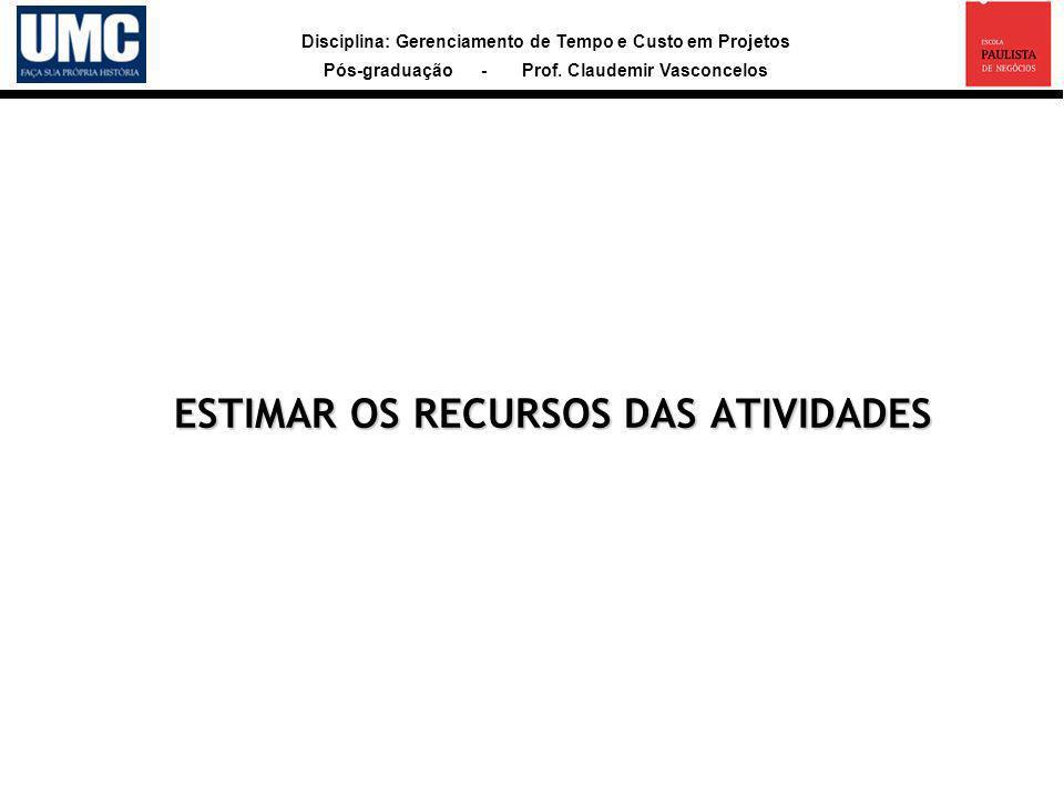 ESTIMAR OS RECURSOS DAS ATIVIDADES