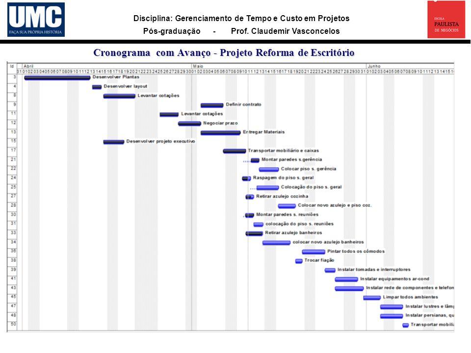 Cronograma com Avanço - Projeto Reforma de Escritório