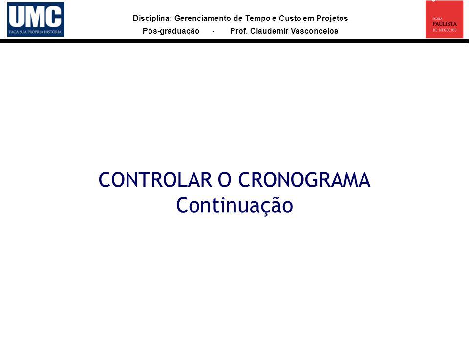 CONTROLAR O CRONOGRAMA Continuação