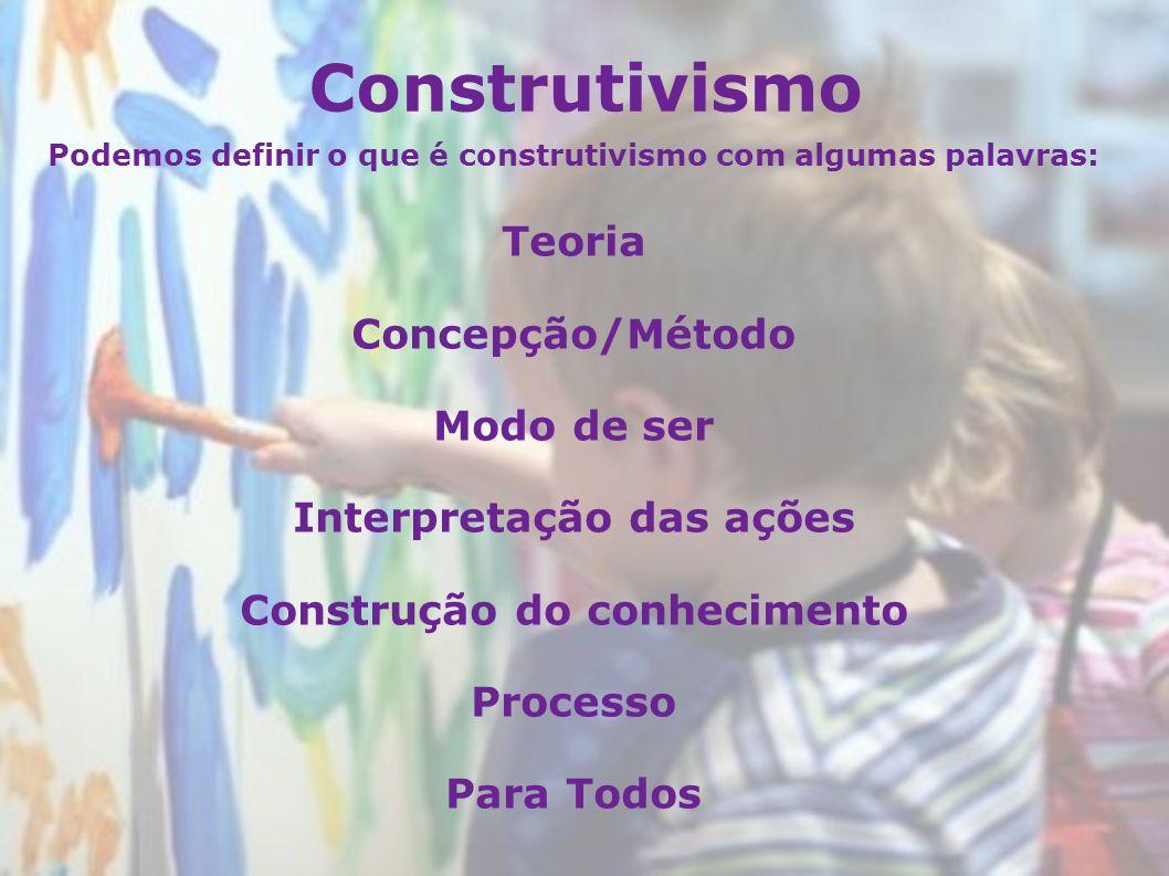 Construtivismo Teoria Concepção/Método Modo de ser