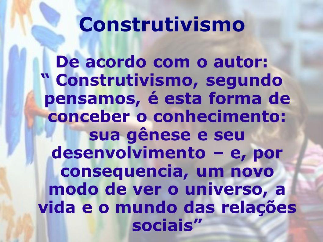 Construtivismo De acordo com o autor: