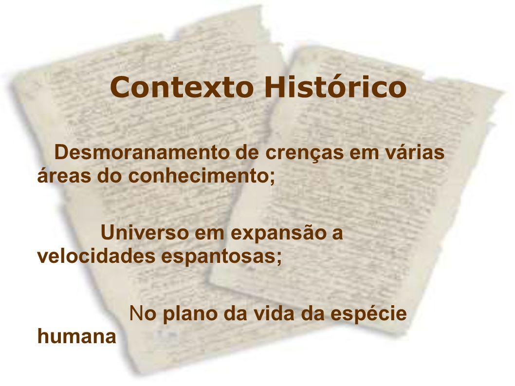 Contexto Histórico Desmoranamento de crenças em várias áreas do conhecimento;