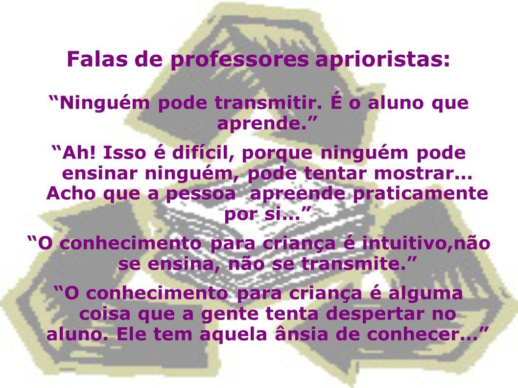 Falas de professores aprioristas: