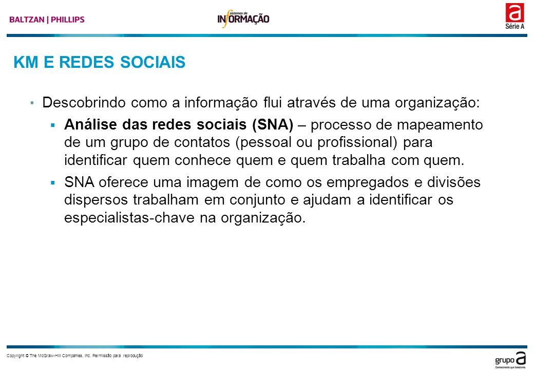KM E REDES SOCIAIS Descobrindo como a informação flui através de uma organização: