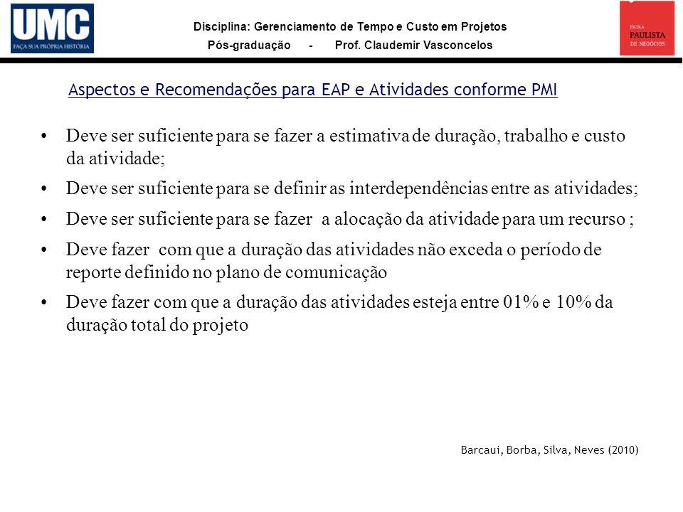 Aspectos e Recomendações para EAP e Atividades conforme PMI