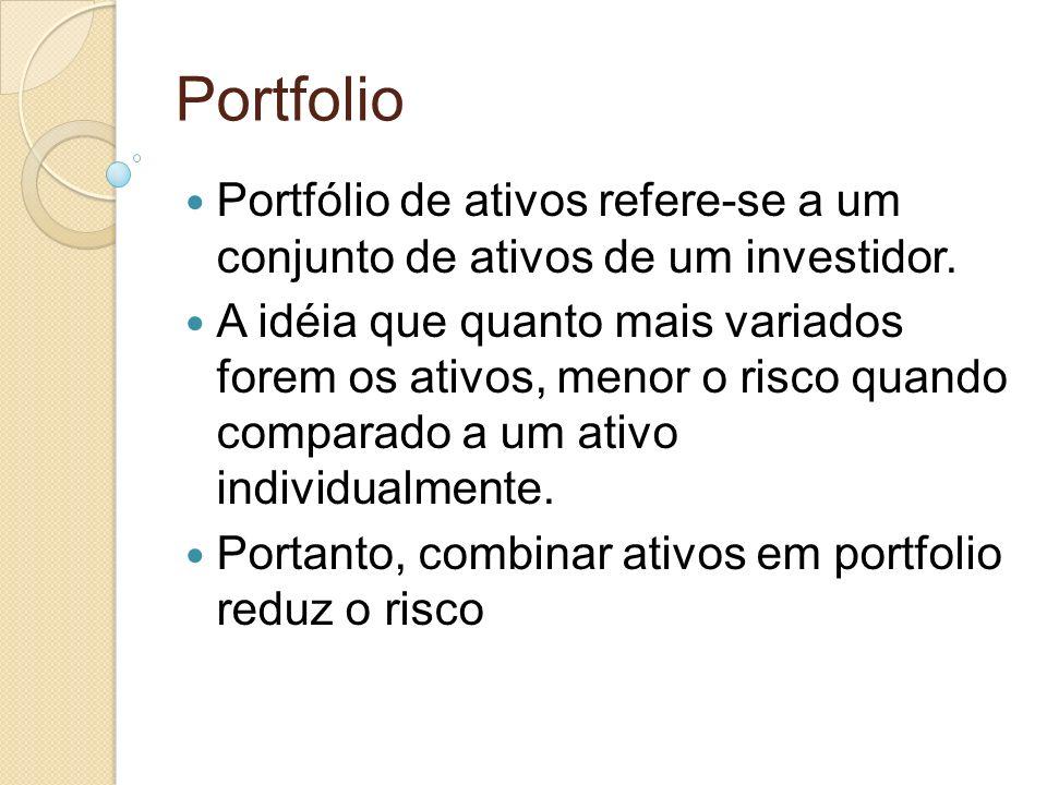 Portfolio Portfólio de ativos refere-se a um conjunto de ativos de um investidor.