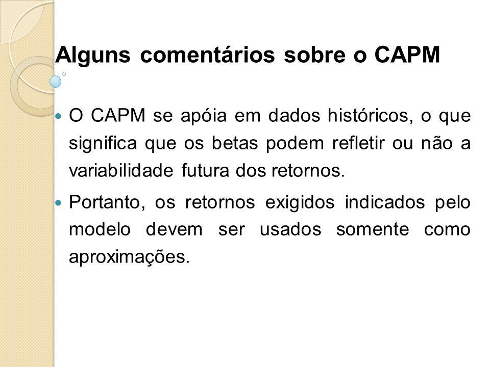 Alguns comentários sobre o CAPM