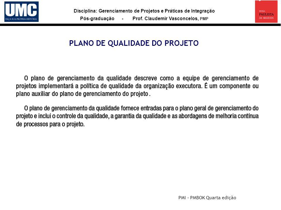 PLANO DE QUALIDADE DO PROJETO