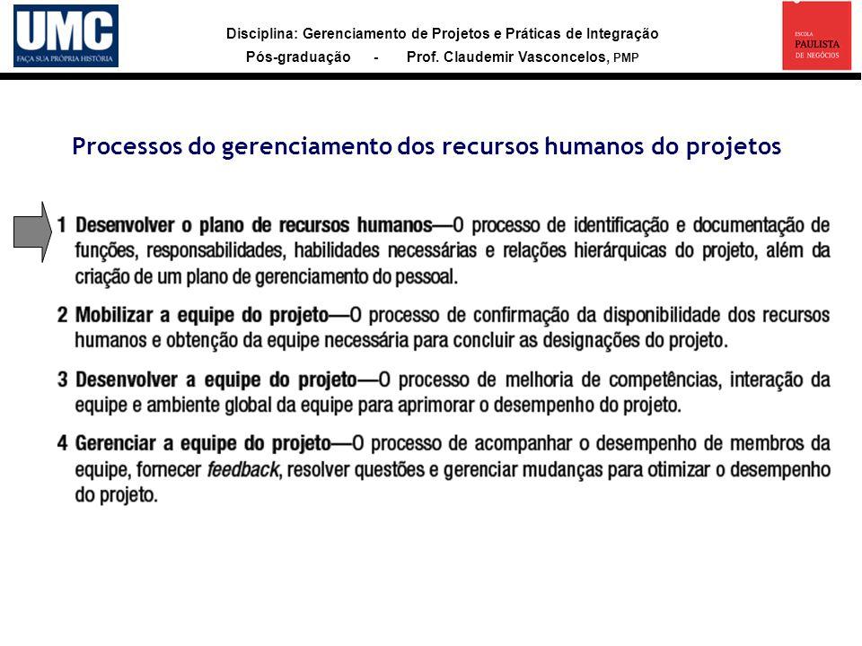 Processos do gerenciamento dos recursos humanos do projetos