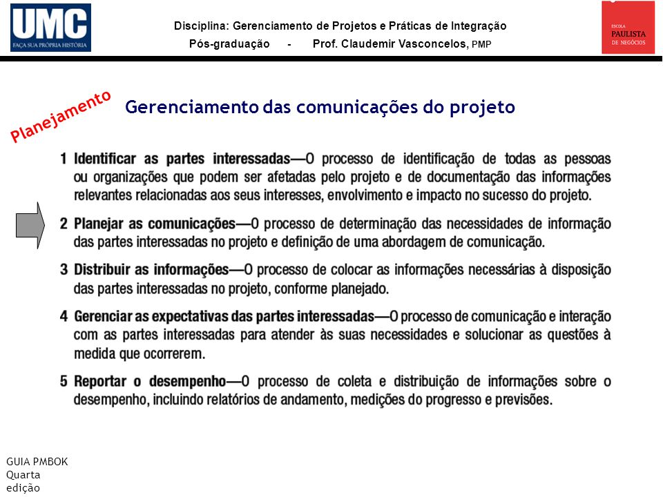 Gerenciamento das comunicações do projeto