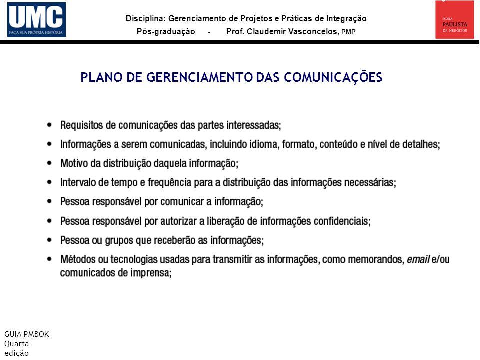 PLANO DE GERENCIAMENTO DAS COMUNICAÇÕES