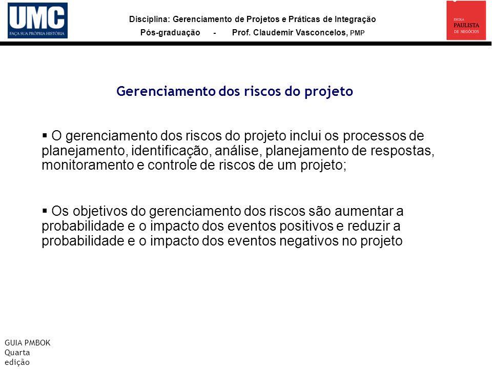 Gerenciamento dos riscos do projeto