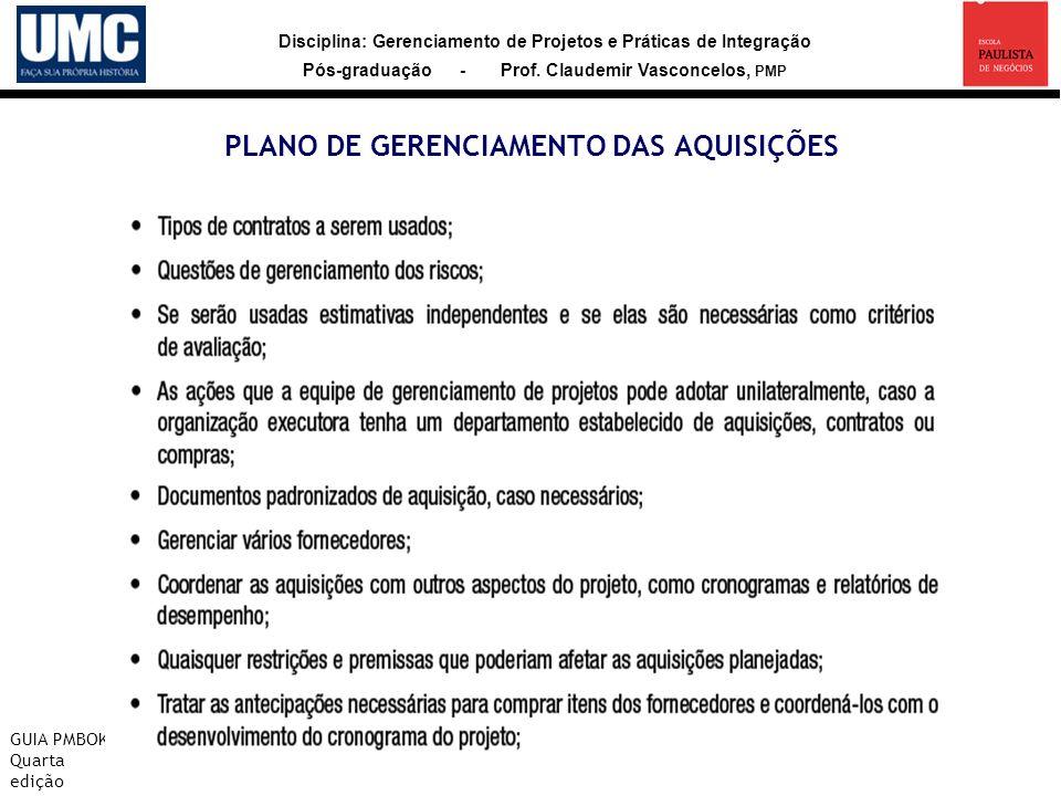 PLANO DE GERENCIAMENTO DAS AQUISIÇÕES