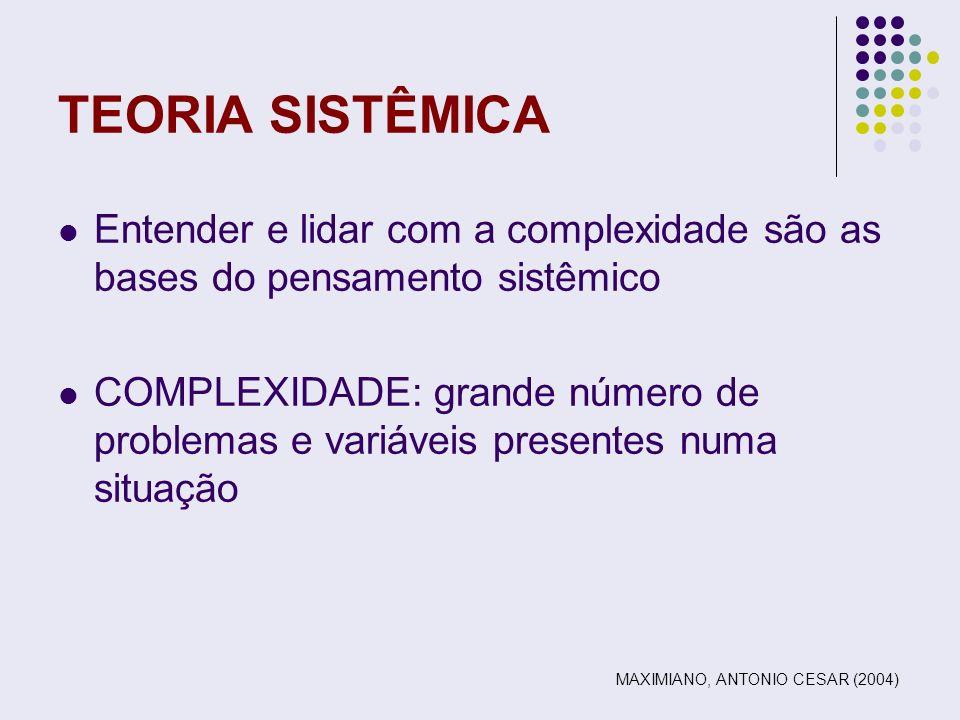 TEORIA SISTÊMICA Entender e lidar com a complexidade são as bases do pensamento sistêmico.
