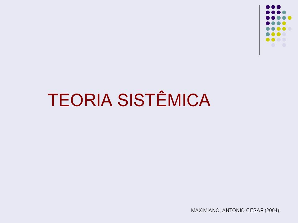 TEORIA SISTÊMICA MAXIMIANO, ANTONIO CESAR (2004)