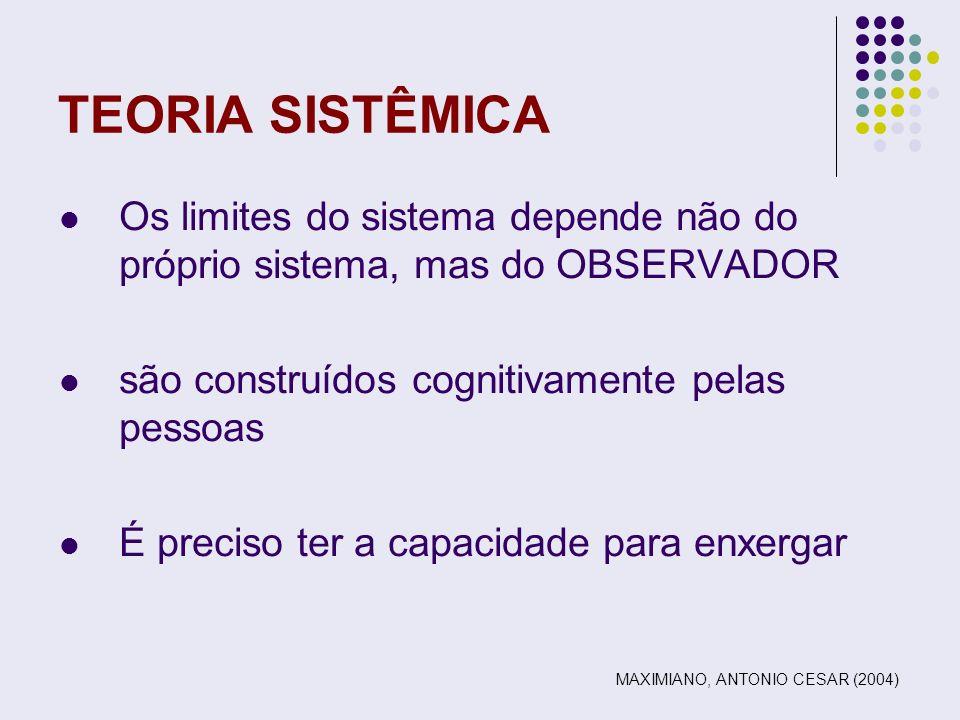 TEORIA SISTÊMICA Os limites do sistema depende não do próprio sistema, mas do OBSERVADOR. são construídos cognitivamente pelas pessoas.