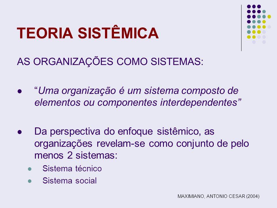 TEORIA SISTÊMICA AS ORGANIZAÇÕES COMO SISTEMAS: