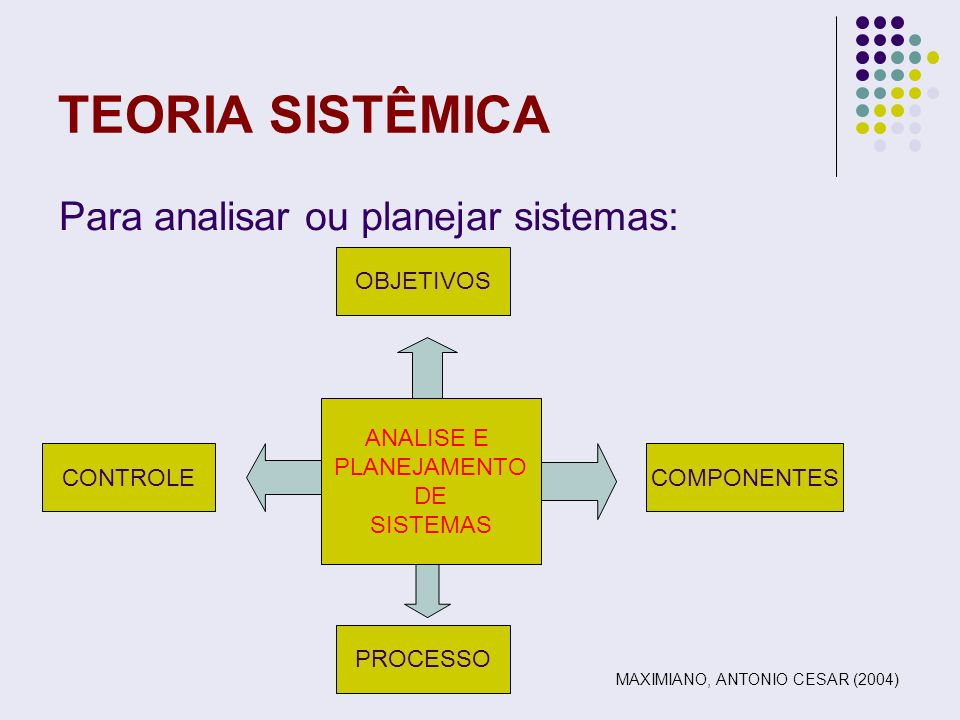 TEORIA SISTÊMICA Para analisar ou planejar sistemas: OBJETIVOS