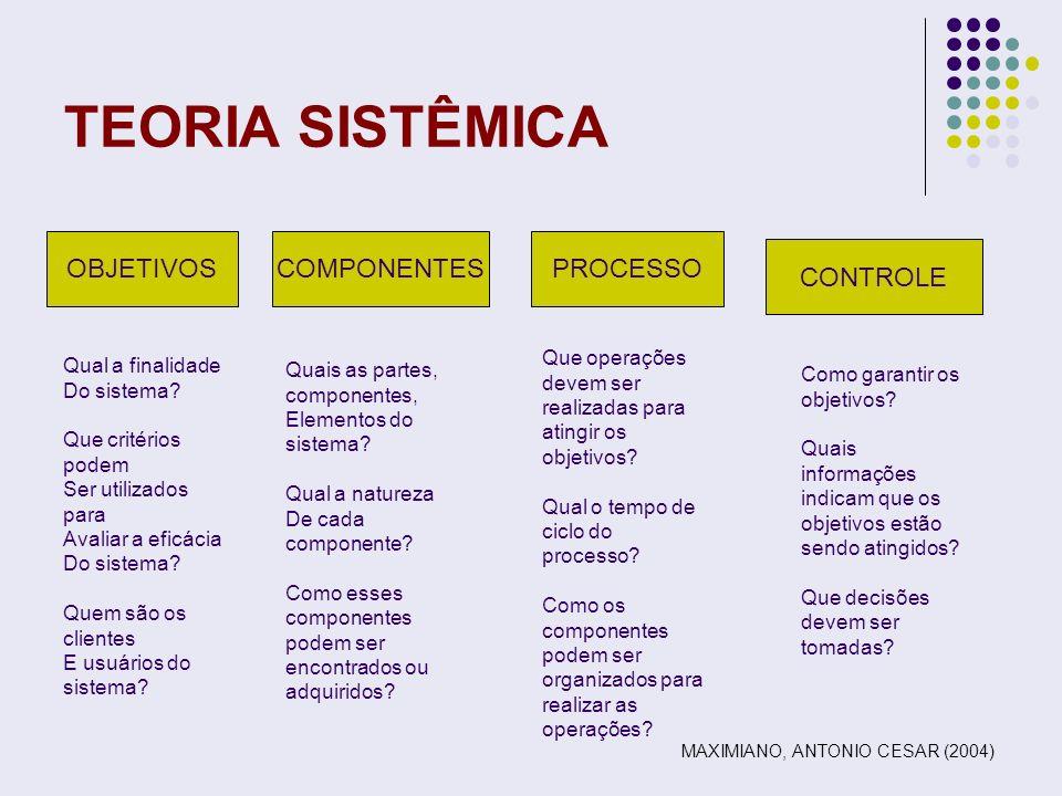 TEORIA SISTÊMICA OBJETIVOS COMPONENTES PROCESSO CONTROLE