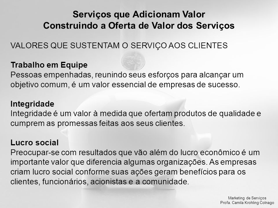Serviços que Adicionam Valor