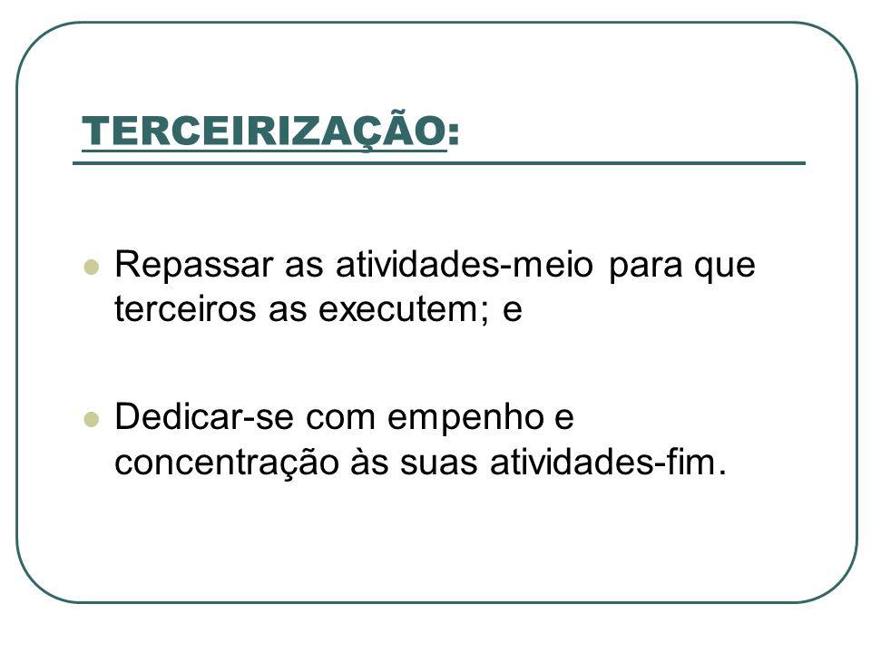 TERCEIRIZAÇÃO: Repassar as atividades-meio para que terceiros as executem; e.