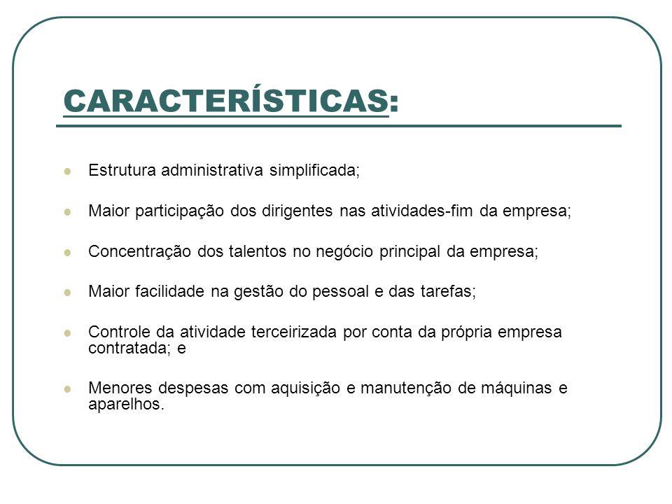 CARACTERÍSTICAS: Estrutura administrativa simplificada;