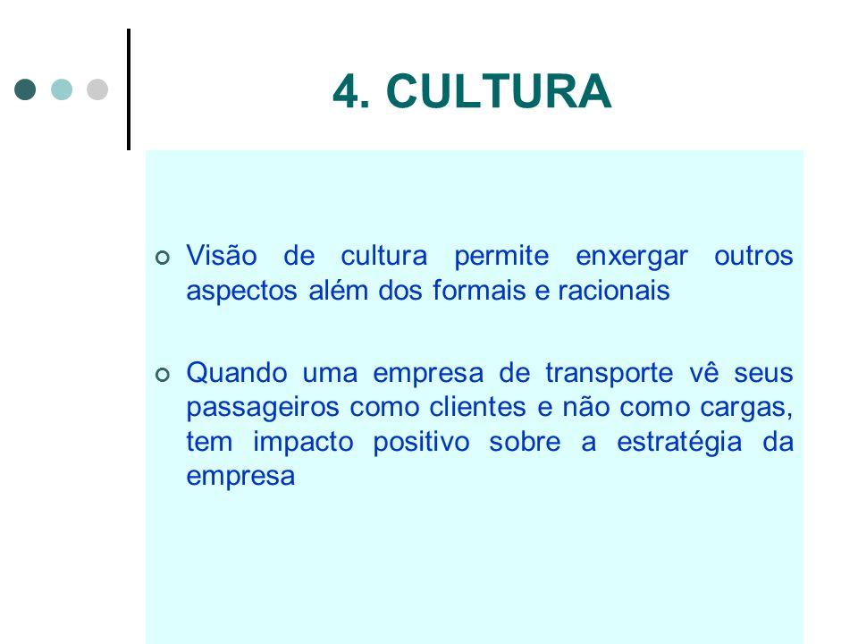 4. CULTURAVisão de cultura permite enxergar outros aspectos além dos formais e racionais.