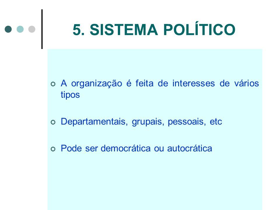 5. SISTEMA POLÍTICOA organização é feita de interesses de vários tipos. Departamentais, grupais, pessoais, etc.