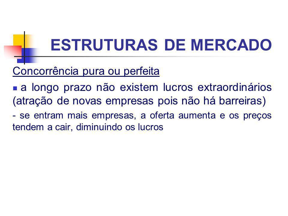ESTRUTURAS DE MERCADO Concorrência pura ou perfeita