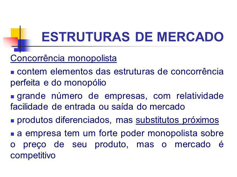 ESTRUTURAS DE MERCADO Concorrência monopolista