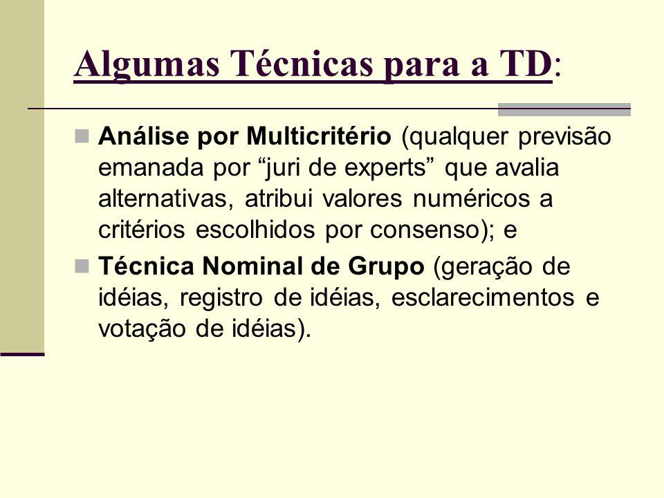 Algumas Técnicas para a TD: