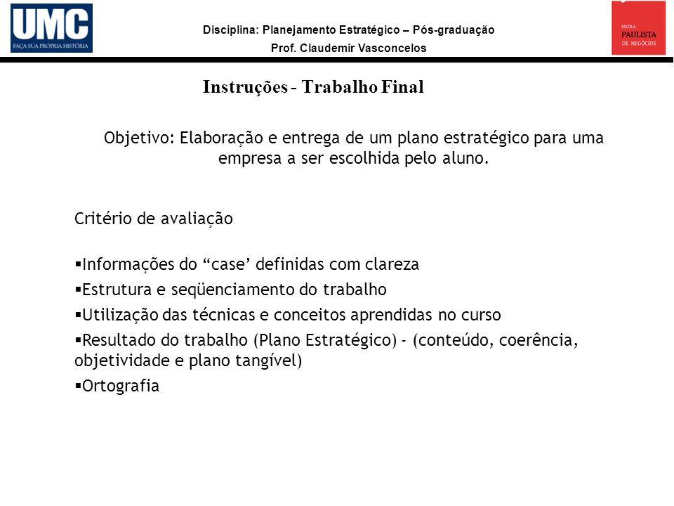Instruções - Trabalho Final