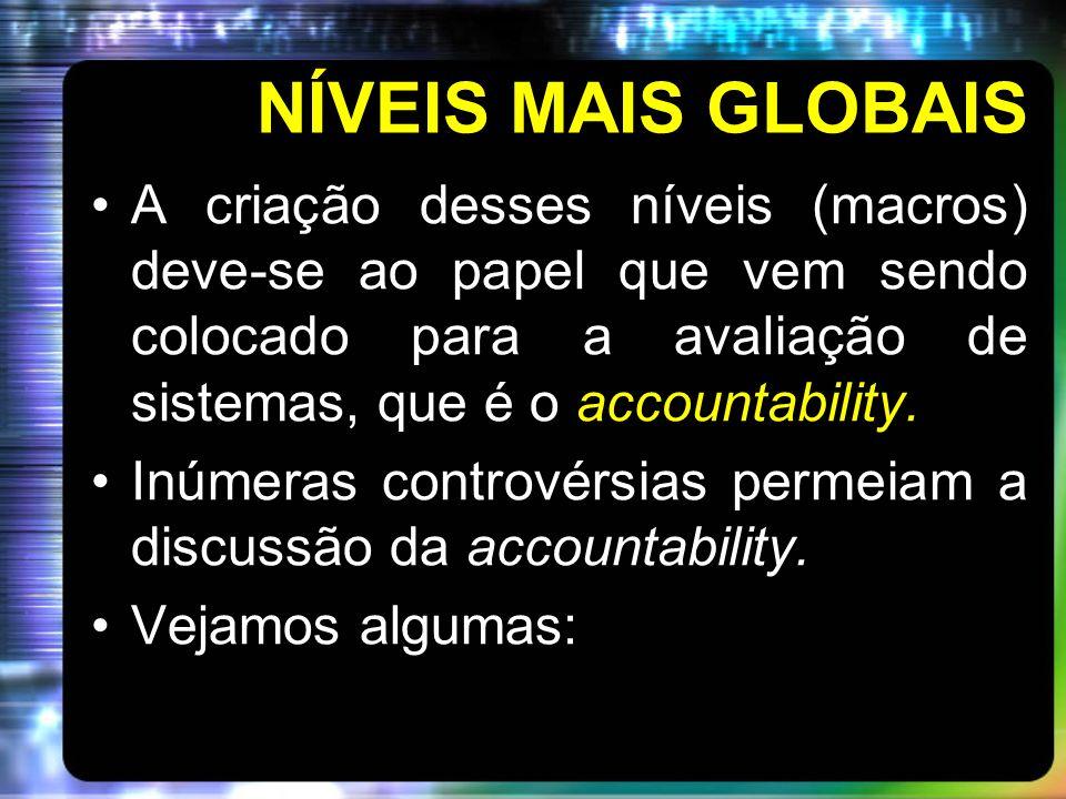 NÍVEIS MAIS GLOBAISA criação desses níveis (macros) deve-se ao papel que vem sendo colocado para a avaliação de sistemas, que é o accountability.