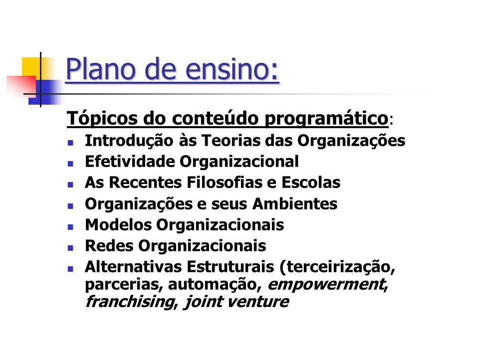 Plano de ensino: Tópicos do conteúdo programático: