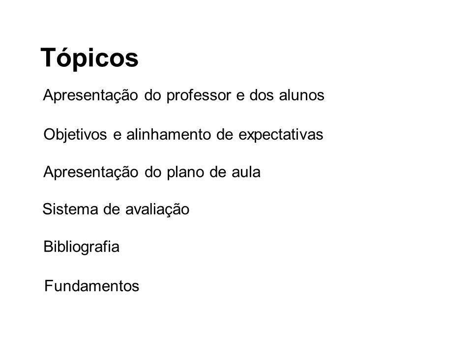 Tópicos Apresentação do professor e dos alunos
