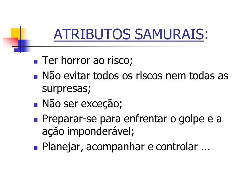 ATRIBUTOS SAMURAIS: Ter horror ao risco;