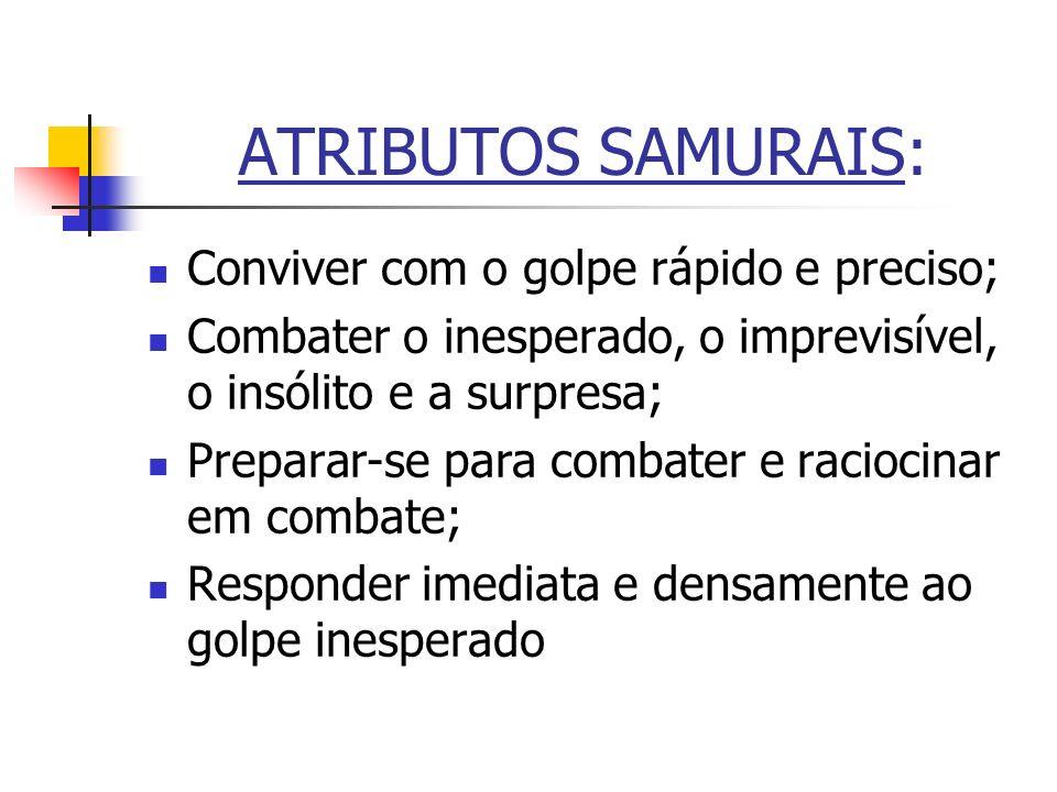 ATRIBUTOS SAMURAIS: Conviver com o golpe rápido e preciso;