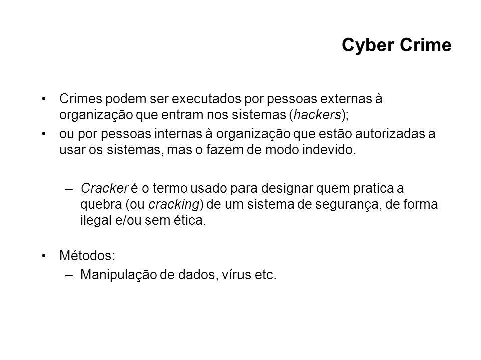 Cyber Crime Crimes podem ser executados por pessoas externas à organização que entram nos sistemas (hackers);