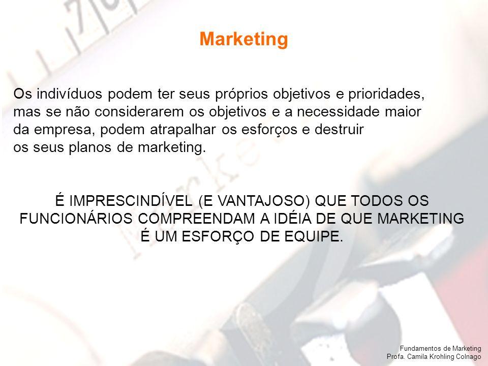 Marketing Os indivíduos podem ter seus próprios objetivos e prioridades, mas se não considerarem os objetivos e a necessidade maior.