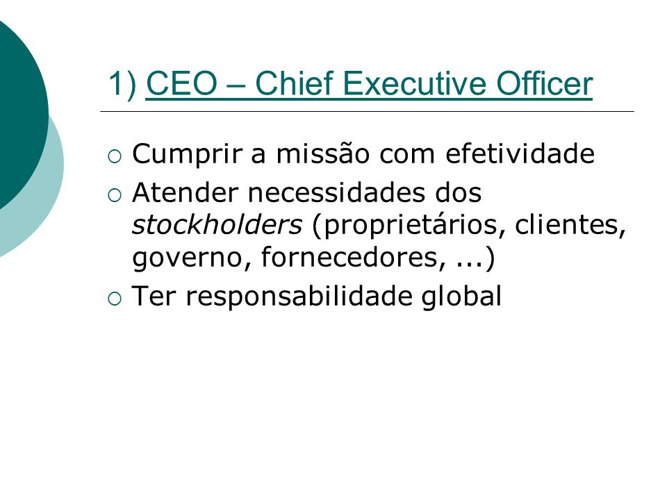 1) CEO – Chief Executive Officer