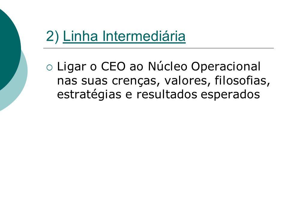2) Linha Intermediária Ligar o CEO ao Núcleo Operacional nas suas crenças, valores, filosofias, estratégias e resultados esperados.