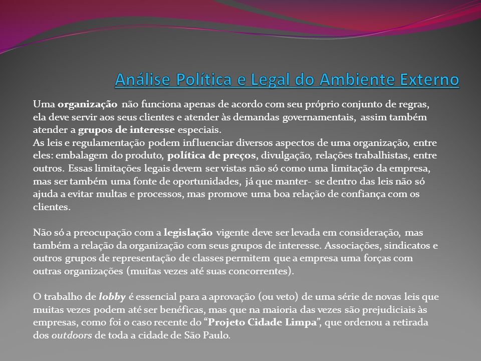 Análise Política e Legal do Ambiente Externo