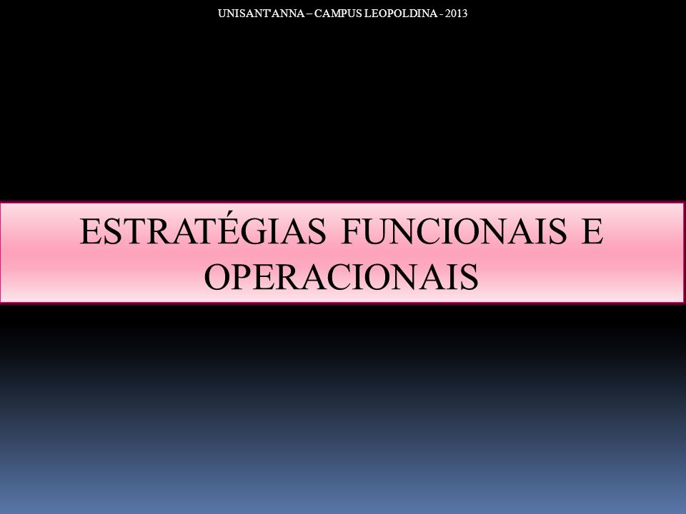 ESTRATÉGIAS FUNCIONAIS E OPERACIONAIS