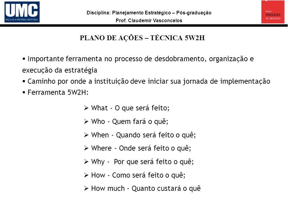 PLANO DE AÇÕES – TÉCNICA 5W2H