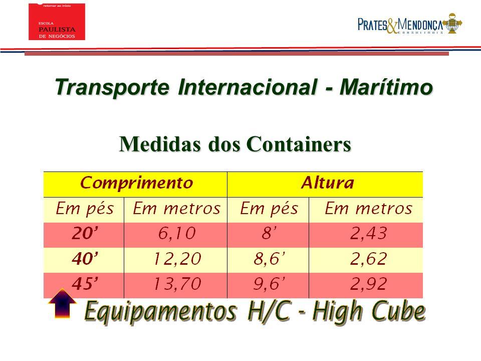 Transporte Internacional - Marítimo Medidas dos Containers