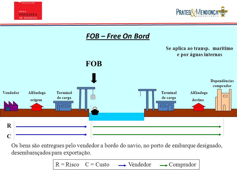 FOB – Free On Bord Se aplica ao transp. marítimo e por águas internas. FOB. Dependências comprador.