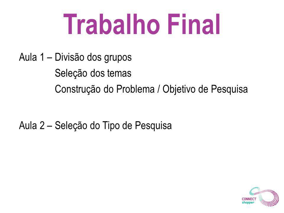 Trabalho Final Aula 1 – Divisão dos grupos Seleção dos temas